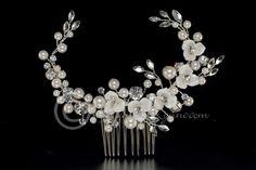 Porcelain Flowers & Pearls Bridal Hair Comb-Cassandra Lynne