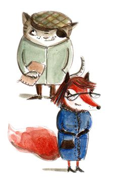 Ms.Fox and Mr. Cat, Pinocchio characters,   illustration by Ania Simeone