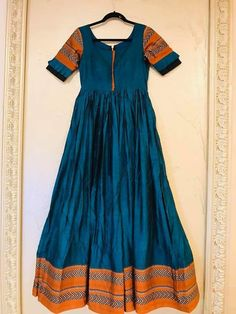 Half Saree Designs, Saree Blouse Designs, Dress Paterns, Simple Anarkali, Ikkat Dresses, Simple Gowns, Churidar Designs, Saree Gown, Neck Designs For Suits