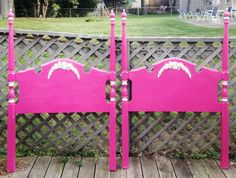 Hot Pink Twin Beds by antique2chic on Etsy