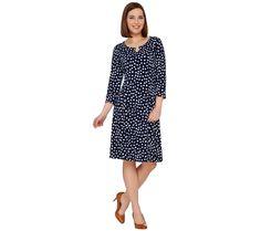 Susan Graver Fashion & Style Liquid Knit Dress Enamel Navy Dot M NEW A274928   eBay