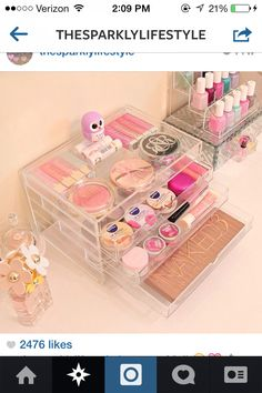 A Beautiful way to store your makeup!!! (from sparklyblonde1 on youtube)