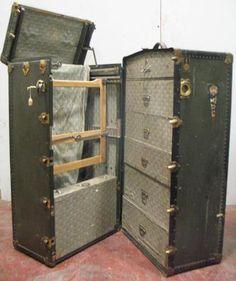Antique Oshkosh Wardrobe Steamer Trunk &key 1918-yale&cunard White Star Stickers