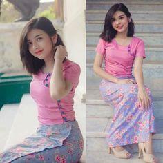 Traditional Dresses Designs, Traditional Outfits, Thai Fashion, Girl Fashion, Indian Evening Gown, Burmese Girls, Myanmar Dress Design, Myanmar Women, Myanmar Traditional Dress