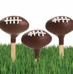 Surprise your dad on Father's Day with Football Cake Pops. Serve them in a wide, shallow pot planted with grass to look like a football field. He'll love it!