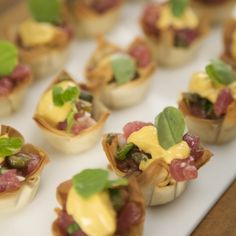 Your guests will go crazy for these Tuna Tartare In Phyllo Cups -- they're beautiful, delicious, and easy to eat