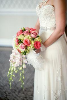 #Bouquet | Add a few #Feathers | Robert & Kathleen Photographers | More wedding inspiration on SMP - http://www.StyleMePretty.com/little-black-book-blog/2013/05/10/great-gatsby-wedding-inspiration-from-robert-kathleen-photographers/