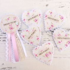 Hen Party Badge Set - Shabby Chic Vintage Hen Party - Floral Fabric Badges - Rosette Heart Set