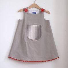 Ticking Pocket infant girls dress or toddler girl by aprilscott, $38.00
