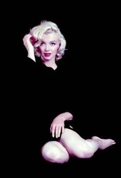 Marilyn. Nude/black cardigan sitting. Photo by Milton Greene, 1953.
