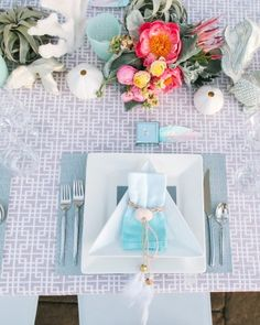 "See the ""The Place Settings"" in our A Seafoam and Blush Ocean-Inspired Wedding in Arizona  gallery"