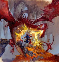 This is an illustration I did for Fantasy Flight Games. It is a classic dungeon crawl game, so the illustration had to be classic too. Fantasy Dragon, Fantasy Rpg, Dragon Art, Fantasy World, Red Dragon, Fantasy Artwork, Fantasy Creatures, Mythical Creatures, Dungeons And Dragons