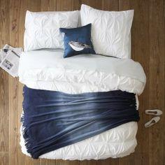 west elm Layered Bed Looks – Cool Blue - ShopStyle Comforters & Duvets West Elm Bedding, Duvet Bedding, Bedding Sets, Blue Bedding, White Duvet, White Pillows, Living Room Plan, Textiles, Cozy Bed