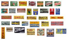 1:43 Scale Model Vintage Garage Signs Set 4 Stickers Decals Gloss Finish