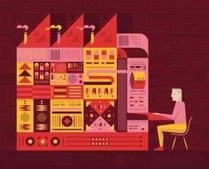 An illustration for Google's #OKGoogle Google Plus promotions. This one is regarding the size of the first computers.