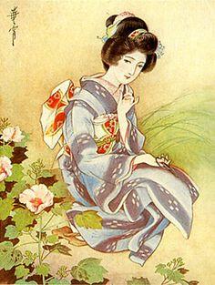 Japan antique art. illustrator / Kasyou Takabatake.   kimono beauty lady. early Showa period.