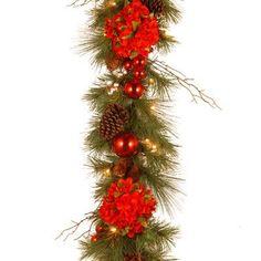 National Tree Co. Decorative Pre-Lit Hydrangea Garland
