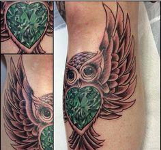 Emerald gem owl tattoo