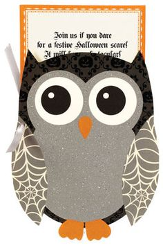 Glittered Halloween Owl Die-Cut Invitations