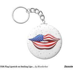 SOLD! #USA #Flag #Lipstick on #Smiling #Lips #Keychain  by Bluedarkart at #Zazzle    https://bluedarkart.wordpress.com/2016/02/17/usa-flag-lipstick-on-smiling-lips-keychain-sold-by-bluedarkart/
