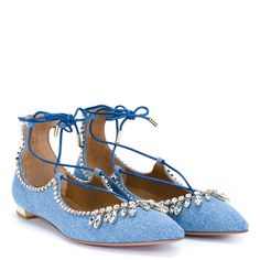 AQUAZZURA Christy Denim Flats (€875) ❤ liked on Polyvore featuring shoes, flats, evening bridal shoes, evening flats, sexy flats, formal flats and wedding shoes