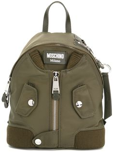 Moschino Small Zip Front Backpack In Militare Green Backpacks, Stylish Backpacks, Backpacks For Sale, Cool Backpacks, Moschino, Fashion Bags, Fashion Backpack, Best Designer Bags, Backpack For Teens