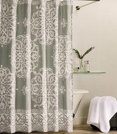Tahari Home Collection Medallion Border Fabric Shower Curtain Light Grey  White