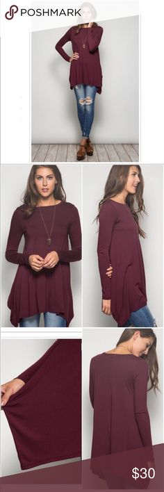 Burgundy/Wine Tunic Top Super cute and flowy top! Comfy and can be worn with just about anything! Ankle jeans, distressed jeans, leggings and boots. Only worn a couple of times, excellent condition. Goes great with shoes listed!!  Offers Welcome Tops Tunics