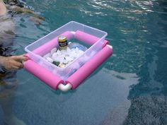 floating cooler,  Just cut up a pool noodle and get some PVC pipe corners!