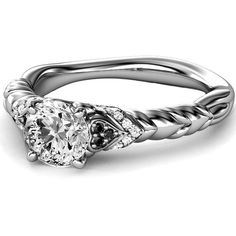 Engagement Ring - Black & White Diamond Rope Engagement Ring in 14K... ($1,198) ❤ liked on Polyvore
