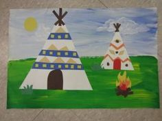 Native American multicultural project - teaching HORIZON LINE and background, middle ground, foreground and the sizing of objects in a landscape. by angelia