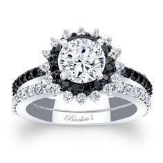 Barkev's Black Diamond Halo Bridal Set 7969SBKW