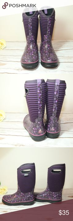 Bogs Purple Girl Youth Rain Boots Sz 4 Bog Purple Girl Youth Rain Boots Sz 4 Kids Waterproof  Designed to withstand temperatures that drop to -30*. Good used condition Purple floral design with horizontal black and purple stripes So cute and cozy! Bogs Shoes Boots