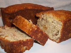 Cake Mix Banana Bread - 1 box yellow cake mix, 2 eggs, 4 ripe smashed bananas, nuts (optional) = 2 loaves