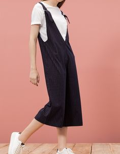 Pinstripe dungaree culottes