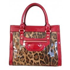 Women's Stylish Red Patent Leather Handbag with Leopard Pattern| Free Shipping| Fabhere.com.au