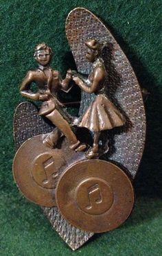 Unusual & Rare Original Vintage 1950s Copper Rock n Roll Brooch / Badge