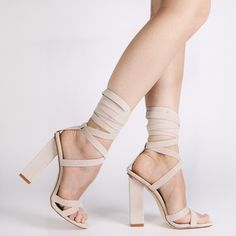 Vera Lace Up Heels in Nude Faux Suede | Public Desire