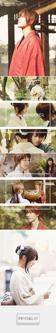 """""""Do you remember when I came back from Kyoto and I said 'I'm home'? That was the first time I said those words ever since I became a wanderer."""" #RUROUNI KENSHIN #JMOVIE #GIF #SATO TAKERU #TAKEI EMI #dramalatte - created via http://pinthemall.net"""