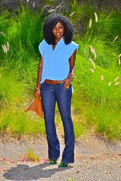Style Pantry   Oversize Dolman Shirt + Skinny Flare Jeans