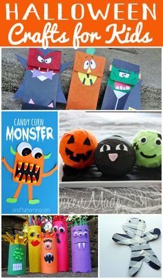 Easy and fun Halloween Crafts for Kids - lots of activities even preschoolers can do. Great for a Halloween party.
