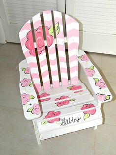 Hand Painted Children's Adirondack Chair by ArtworksByAmy on Etsy, $80.00 Painted Outdoor Furniture, Painted Chairs, Kids Furniture, Diy Gifts For Kids, Diy For Kids, Grandchildren, Grandkids, Paint Wood Tables, Kids Adirondack Chair