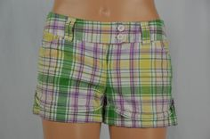 BFF Womens 3 Short Plaid Shorts Green Purple Yellow Colorful Summer Spring #BFF #CasualShorts