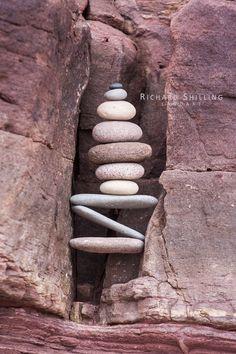 """Ooh isn't that so very zen."" ""I love those pebbles in such perfect balance. Brick And Stone, Stone Art, Land Art, Mandala Art, Stone Cairns, Balance Art, Rock Sculpture, Outdoor Art, Outdoor Decor"