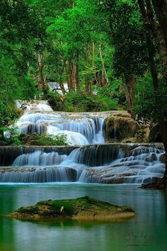 Erawan Waterfall, Thailand - so much more beautiful in person! I miss Thailand so much. Places Around The World, The Places Youll Go, Places To See, Around The Worlds, Beautiful Waterfalls, Beautiful Landscapes, Natural Waterfalls, Beautiful World, Beautiful Places