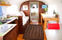 Peek inside this renovated 1969 Airstream. The interior is surprisingly bright