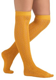 $18 Cotton Knee Socks in Marigold by Tabbisocks - Yellow, Solid, Cotton, Casual, Vintage Inspired, Fall