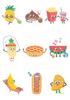 SILL188, 푸드캐릭터, 캐릭터, 푸드, 음식, 요리, 벡터, 에프지아이, 스티커, 파인애플, 밤, 팝콘, 콜라, 무, 파이, 수박, 과일…