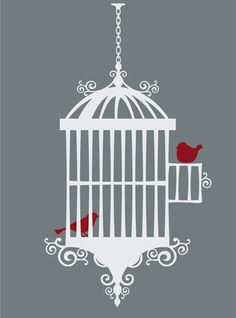 Bedroom Wall Designs bird cages | ... & Stickers, Victorian Bird Cage Style 2 with Birds Vinyl Wall Design