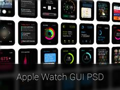 The first Apple Watch GUI PSD. The idea is to help other designers get off the ground designing beautiful Apple Watch apps faster and better. This is also a way of us giving back to the design comm. Apple Watch Apps, Mobile App Design, Mobile Ui, Apple Watch Accessories, Wireframe, User Interface, Interface Design, Interactive Design, Led